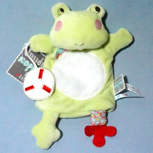 Grenouille KALOO doudou marionnette Nopnop verte