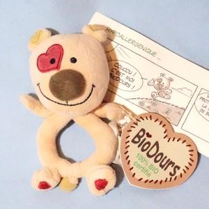 Ours BIODOURS marionnette beige cœur rose