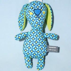 Lapin ORCHESTRA doudou peluche bleu et vert