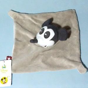 Souris Mickey DISNEY doudou carré plat gris