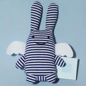 lapin ange TROUSSELIER doudou 18 cm rayé bleu marine et blanc