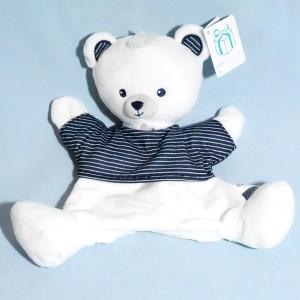 Ours SIMBA KIABI Nicotoy doudou marionnette plat bleu marine et blanc