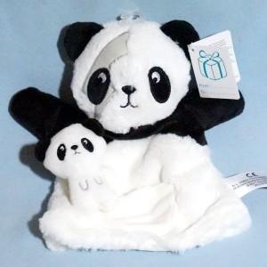 Panda SIMBA KIABI doudou marionnette noire et blanche bébé