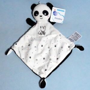 Panda MOTS D'ENFANTS doudou plat noir et blanc