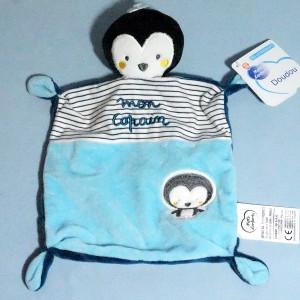 Pingouin MOTS D'ENFANTS doudou plat bleu Mon Copain