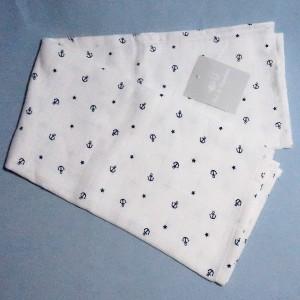 lange ou couche carré PAT & RIPATON doudou blanc ancre bleu marine