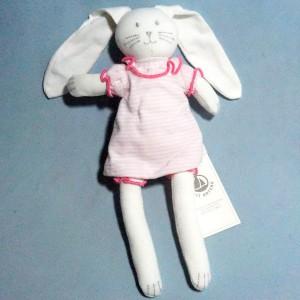 Lapin PETIT BATEAU doudou robe rayée rose et blanche
