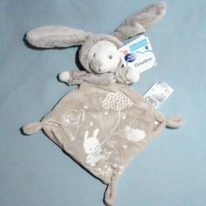 Lapin MOTS D'ENFANTS doudou plat beige phosphorescent