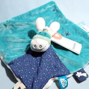 Ane NOUKIE'S Paco doudou carré plat bleu masqué