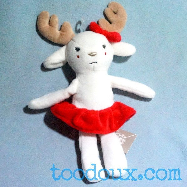 Renne GRAIN DE BLE doudou peluche blanc jupe rose