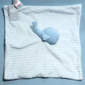 Baleine PRIMARK doudou carré plat bleu et blanc