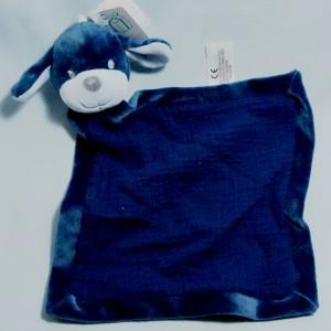 chien SIMBA (Kiabi) doudou carré plat bleu marine lange et velours