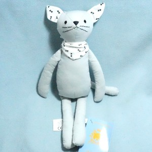 Chat BOUT'CHOU (Monoprix) doudou gris bleu foulard