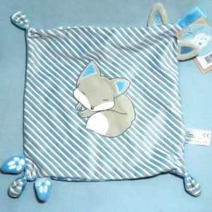 Doudou renard CAD Distri Center carré plat bleu