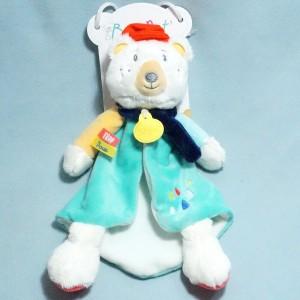 ours BABY NAT' plat blanc et turquoise Trop Doux