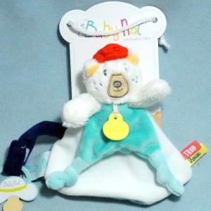 ours BABY NAT' attache tétine blanc et turquoise Trop Doux