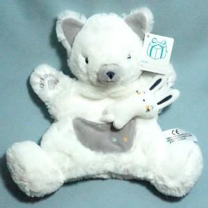 Chat ou renard SIMBA KIABI Nicotoy doudou marionnette plat blanc bébé lapin