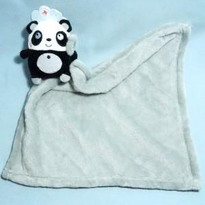 Panda NICOTOY doudou carré plat gris