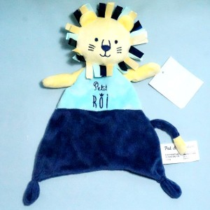 Lion PAT & RIPATON (La Halle) doudou plat bleu Petit Roi