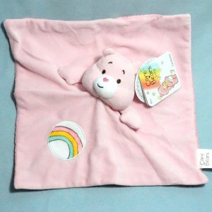 Ours Bisounours CARE BEARS baby doudou ACTION carré plat rose
