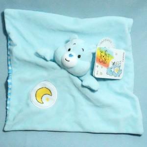 Ours Bisounours CARE BEARS baby doudou carré plat bleu lune