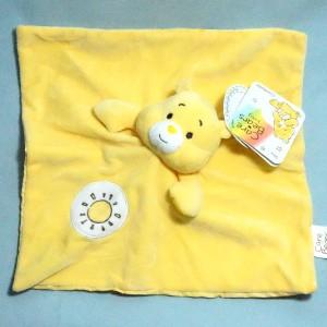 Ours Bisounours CARE BEARS baby doudou carré plat jaune soleil