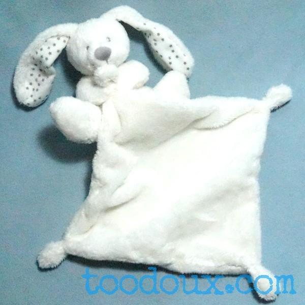 Lapin VERTBAUDET peluche blanche avec doudou plat