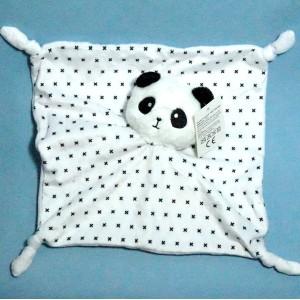Panda doudou carré plat blanc et noir croix