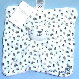 """Chat DPAM doudou blanc et gris """"Mon petit chat"""""""