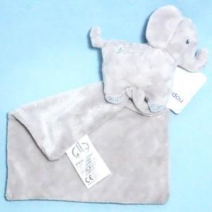 Eléphant MOTS D'ENFANTS doudou gris
