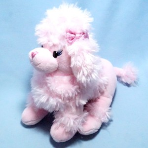 Chien caniche GIPSY Doudou peluche rose