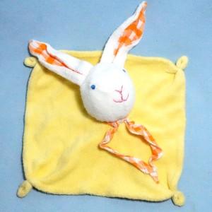 Doudou lapin carré plat éponge jaune