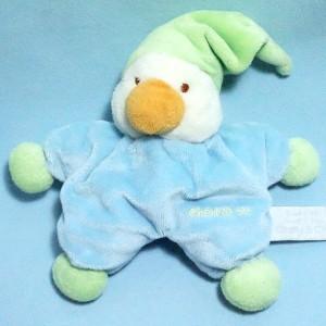 Canard CHARLY & CIE doudou bleu bonnet vert