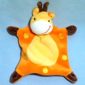 Girafe SIPLEC doudou plat orange