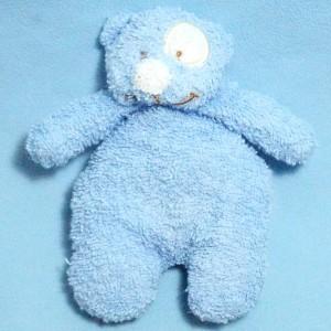 Ours TEX CARREFOUR doudou en éponge bleu