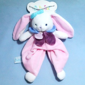 "Lapin BABY NAT doudou rose ""Berry"""