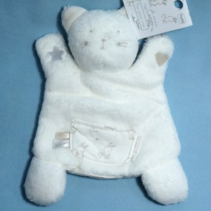 Chat SERGENT MAJOR doudou marionnette blanc