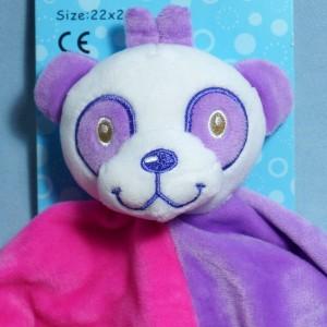 Doudou panda violet et rose carré plat