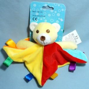 Doudou ours jaune et rouge carré plat