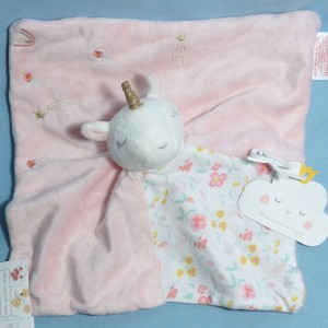 Licorne SERGENT MAJOR doudou carré plat rose