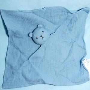 Ours BOUT'CHOU (Monoprix) doudou lange carré plat bleu