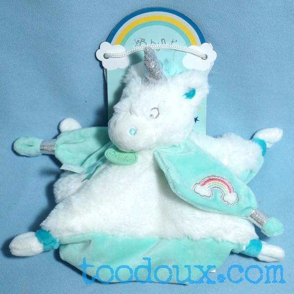 Licorne BABY NAT doudou plat blanc et bleu arc-en-ciel BN0338