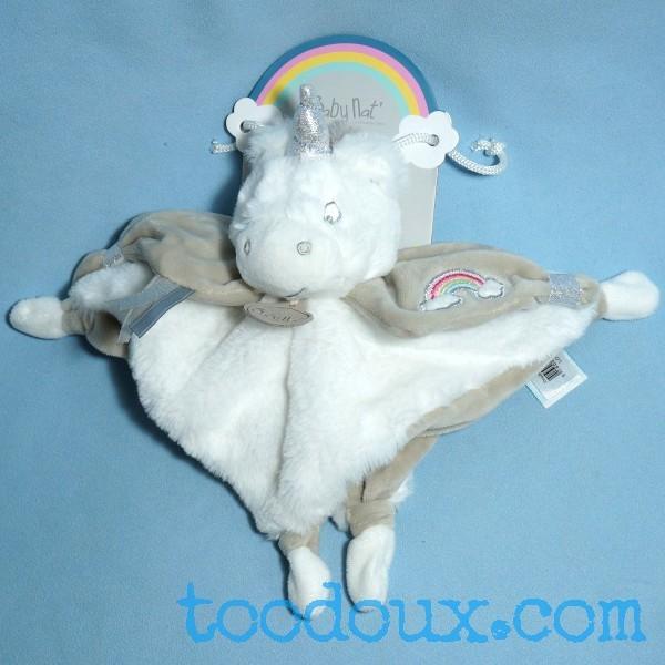 Licorne BABY NAT doudou plat blanc et beige arc-en-ciel BN0335