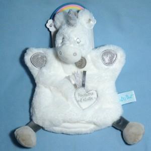 Licorne BABY NAT doudou marionnette blanc Poussière d'étoiles