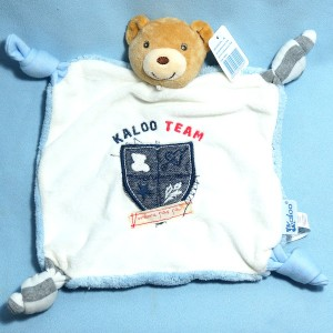 Ours KALOO Blue Denim doudou marionnette plat bleu jean Kaloo Team