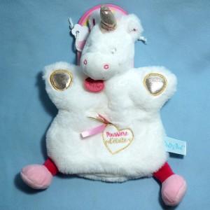 Licorne BABY NAT doudou marionnette blanc et rose Poussière d'étoile