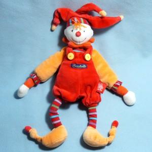 Clown Dragobert de MOULIN ROTY doudou rouge et orange