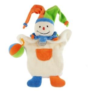 Arlequin Doudou & Compagnie marionnette orange, bleu, vert et blanc